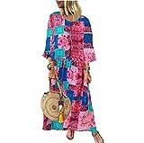 Yassiglia Vestido Boho Patchwork de manga larga para mujer, de algodón y lino, suelto, informal, largo vestido de mujer elegante, rojo, M