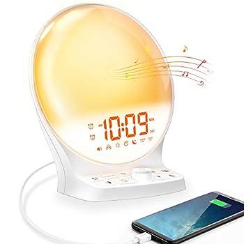 Wake Up Light Alarm Clock Sunrise Alarm Clock for Bedroom Light Therapy Lamp 7 Color Night Light Dual Alarm Clock with Snooze Sunrise/Sunset Simulation Alarm Clock,Battery Backup USB Charger