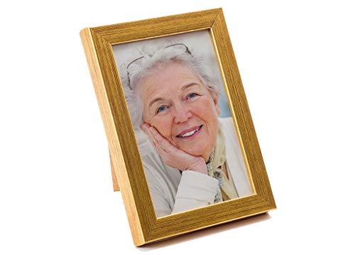 Artepoint Holz Bilderrahmen von 9x13 bis 30x40 Querformat und Hochformat zum Aufhängen Rahmen Farbe Dunkel-Gold gebürstet - Format 24x30