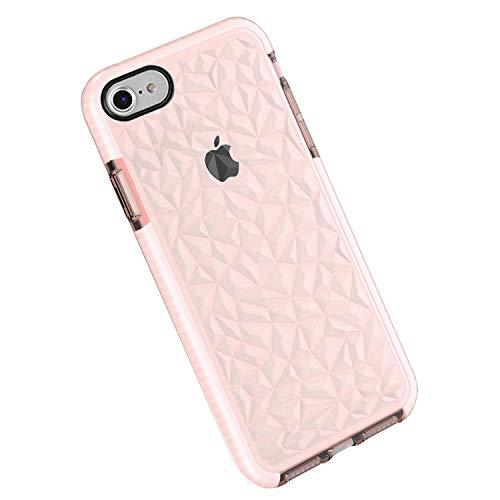 Funda iPhone 8/7, Carcasa Silicona Transparente Protector TPU Airbag Anti-Choque Ultra-Delgado Anti-arañazos Case 3D Modelo Geométrico de Diamante Funda (iPhone 8/7, Rosa)