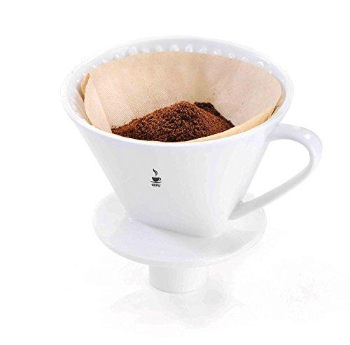 GEFU 16020 Kaffee-Filter SANDRO, Größe 4 aus weißem Porzellan, wiederverwendbarer Handfilter für aromatischen Kaffee