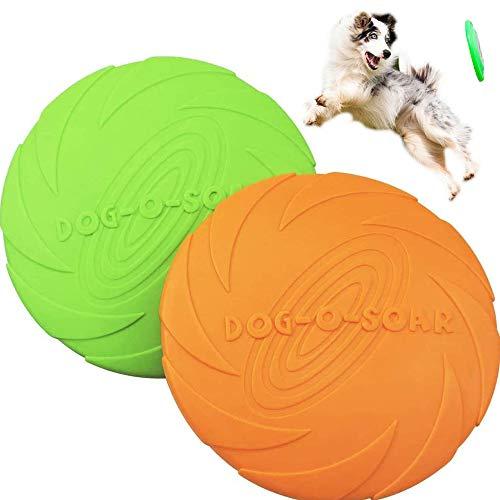 XIAQIU Frisbee Giocattolo,2 Pezzo Frisbee per Cani,Frisbee di Gomma,Addestramento Facile da Trasportare Disc Dog, per Cani Giochi Outdoor Dog Formazione Fetch Toy