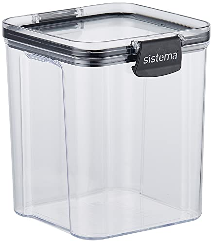 Sistema Ultra Collection Square Food Storage Container, 31.1 oz./0.9 L, Clear/Black