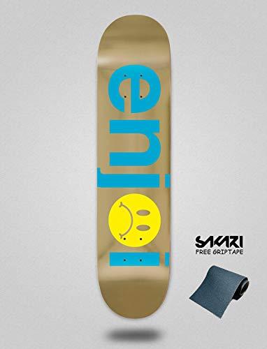 Enjoi frowny Face Blue Gold 7.75 Monopatín Skate Skateboard Deck