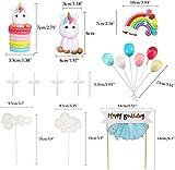 iZoeL Tortendeko Einhorn Geburtstag Kuchen Regenbogen Happy Birthday Girlande Luftballon Wolke Kuchen Topper für Kinder Mädchen Junge - 2