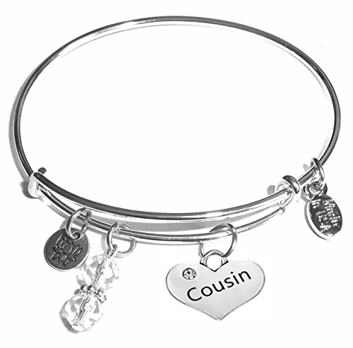 Women's Stainless Steel Message Charm Expandable Wire Bangle Bracelet, Very Popular and Stylish, Arrives in a Gift Box. (Cousin)