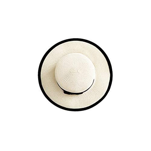 Vbtsqp Sombrero de Paja Verano para Padres e Hijos Británico Retro Plano Superior pequeño Sombrero Fresco sombrilla Protector Solar Sombrero de Playa Viaje Marea Verano
