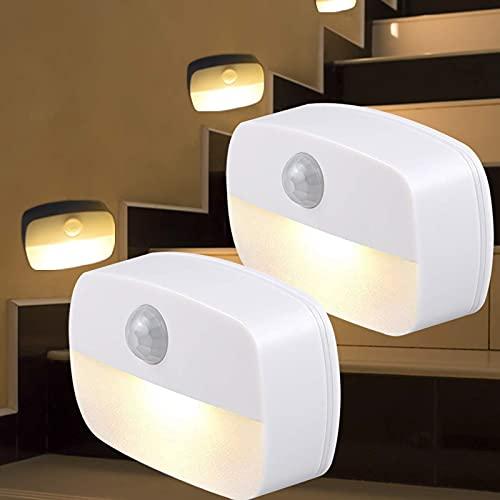 Luz Nocturna Sensor Movimiento,Luz De Noche, [2 unidades] Luz Con Sensor De Movimiento a Pilas,Luz Quitamiedos Infantil, Baño, Cocina, Para Dormitorio, Pasillo, Escaleras, Energéticamente Eficiente