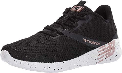New Balance Women's District Run V1 CUSH + Sneaker, Black, 5 M US