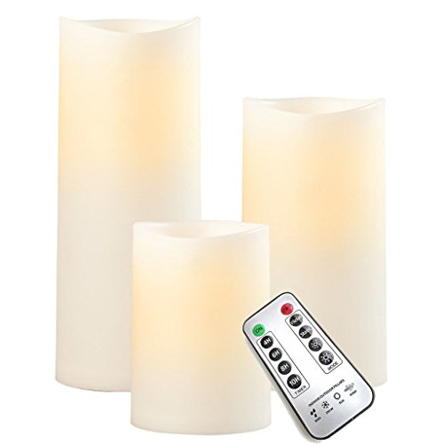 sompex LED Außenkerze - Kunststoff Elfenbein, Höhe:3er Set (12.5-23cm + Fernbedienung)