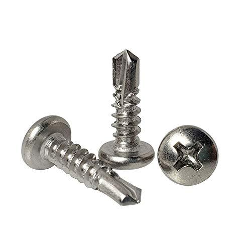 Luchang 100 tornillos de cabeza redonda de acero inoxidable M4.2 M4.8 410 para taladro autoperforante