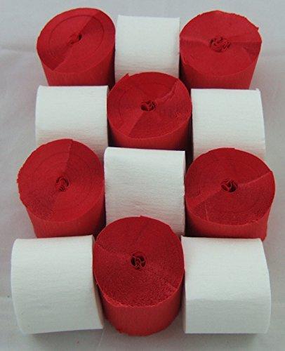 6 Rote 6 Weiß Krepp-Papier Streamer. 45mm x 10metres