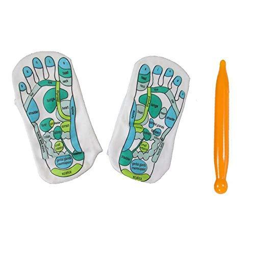 wgkgh Akupressur-Socken, Akupressur-Reflexzonen-Socken, Akupunkt-Modell für Reflexzonen mit menschlichen Füßen, mit Reflexionszonen gekennzeichnete Socken, zur Physiotherapie-Massage