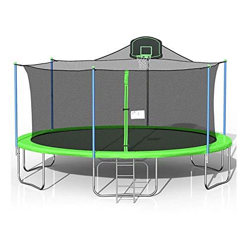 Home store Cama elástica de jardín, Trampolín de 16 pies, Trampolín Grande de Forma Redonda, con Red de cerramiento de Seguridad y Escalera y aro de Baloncesto, para niños Adultos