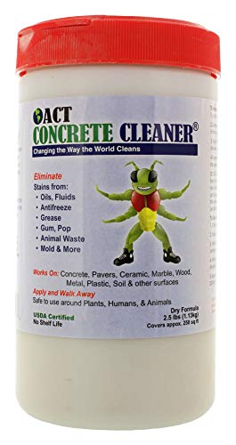 ACT Concrete Cleaner Eco Friendly Removes Oil Grease Mildew Stains- Microbial Perfect for Driveway Garage or Warehouse 2.5lbs. Covers 250sqft.
