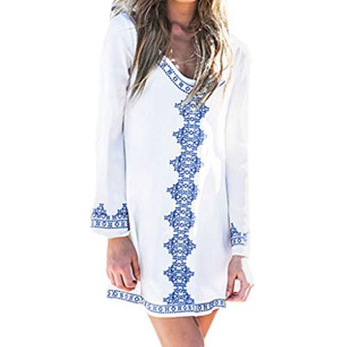 Lialbert Boho Freizeitkleid Dame T-Shirt-Kleid Gerafftem Bedrucktes LangäRmliges HäNgerkleid Mit Etuikleider Minikleid Bedrucktes Skaterkleid Kleider Lockerer Rock Weiß