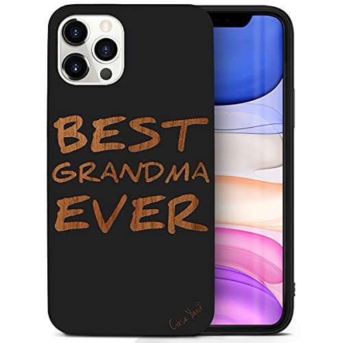 CaseYard Wood Phone case for iPhone 11 Pro Max Laser Engraved Best Grandma Ever Design Black Wood Compatible iPhone case Protective Shockproof Slim fit Cell Phone Cover for Men & Women