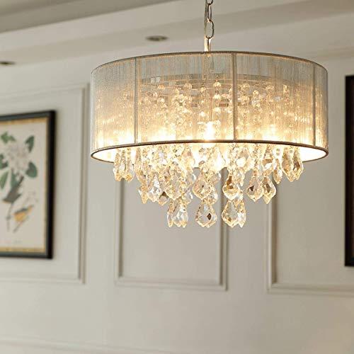 Saint Mossi Modern K9 Kristall Regentropfen Kronleuchter Beleuchtung Unterputz LED Deckenleuchte Pendelleuchte, mit Fernbedienung und dimmbarer Lampe