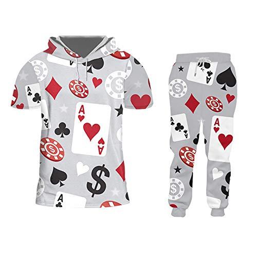 Harajuku 3D Impreso Poker Fun Hip Hop Hoodies + Pantalones Conjuntos De CháNdal Hombre Novedad Streetwear Ropa Deportiva Dropshipping Htpa02304 XXL