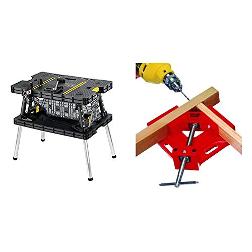 Keter Folding Table Work Bench for Miter Saw Stand, Woodworking Tools and Accessories with Included 12 Inch Wood Clamps - Easy Garage Storage & Can-Do Clamp