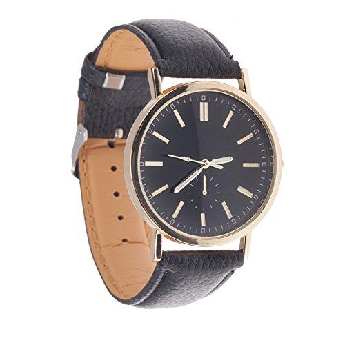 Reloj de muñeca para hombre cuarzo & uso de alta calidad con cinta sintética, negro, caja, color dorado y Minimaliste por VAGA pantalla, color negro