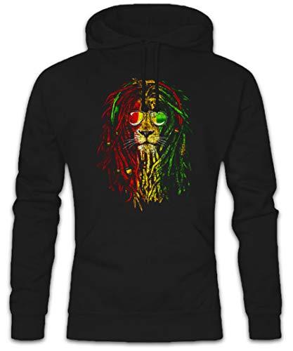 Urban Backwoods Rastafari Lion I Hoodie Felpe con Cappucio Sweatshirt Nero Taglia M