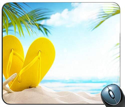Beach Sands Gelbe Hausschuhe Palmblätter Blendung Personalisierte Rechteck Maus Pad Mausmatte