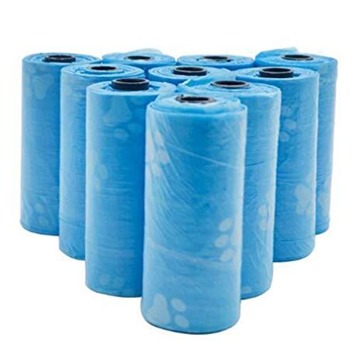 YuanSu 10rolls 150pcs Impulso del Perro Bolsa de plástico Pet Pick Up Bolsas de Basura Gruesa Conveniente Fuera baño Limpio de residuos Bolsa for Basura Bolsas (Color : Blue)