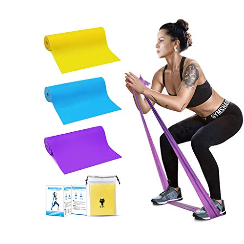 Resistance Bands Set,3pcs 1.5m Professional Womens Yoga TPE Non-Slip Stretching Band Latex Elastic for Home or Gym Upper & Lower Body Physical Therapy Strength Training Pilates Rehab Fitness