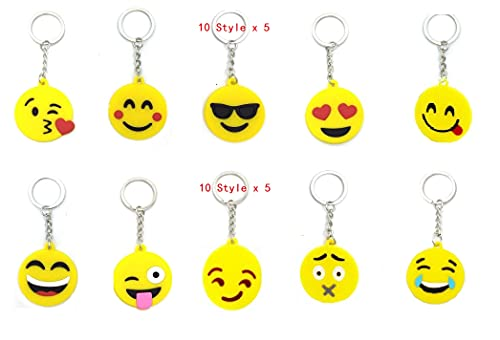 king's deal 50 Pack Emoticon Keyring Mini Keychain Emoji Decorations for Birthday Party, Home Decoration, Wall Decor and Party Favor Bags Party Favor Supplies Summer Camp Prizes Carnivals(50- Emoji)