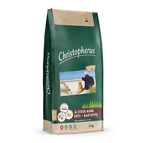 Christopherus Grainfree Senior, Vollnahrung für futtersensible Hunde ab dem 6. Jahr, Trockenfutter, Ente + Kartoffel, Krokettengröße ca. 1 cm, Älterer Hund, 12 kg