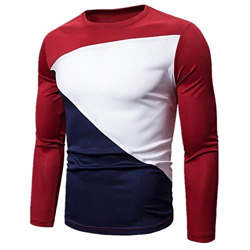 Camiseta de manga larga para hombre con cuello redondo empalme