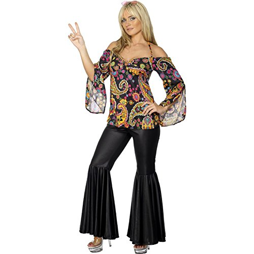 Ladies Sexy Hippie Floral Flared Top & Black Trousers Party Costume. Sizes from 8 to 26.
