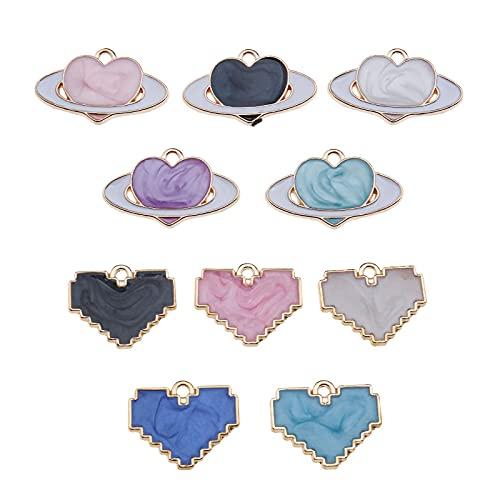 EMSea - 80 colgantes de aleación esmaltados con forma de corazón, para fabricación de joyas, pulseras, collares, pendientes, artesanía, accesorios – 10 estilos