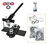 ChiButtons Button Maker Kit 25mm (1') Badge Press Machine-B400 + 25mm Round Die Moulds + 500 Set Button Components + Adjustable Circle Cutter (Black-New)