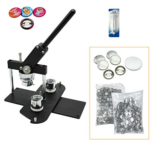 """ChiButtons Button Maker Kit 25mm (1"""") Badge Press Machine-B400 + 25mm Round Die Moulds + 500 Set Button Components + Adjustable Circle Cutter (Black-New)"""