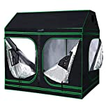 Quictent SGS Approved Eco-Friendly Reflective Mylar Hydroponic Grow Tent with Heavy Duty Anti-Burst Zipper and Waterproof Floor Tray for Indoor Plant Growing 4 Nylon Belts Provided (96''x48''x71'')
