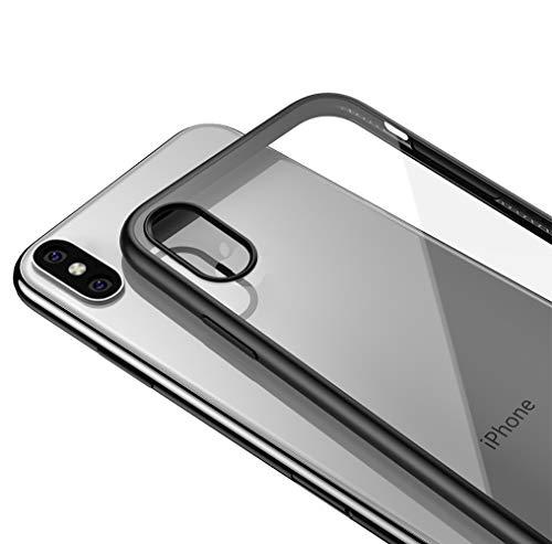 LAYJOY Funda iPhone X/XS y 2-Pack Protector Pantalla Cristal Templado Vidrio Templado de 9H Dureza Cobertura Completa Carcasa Silicona Negro TPU Bumper y Transparente Duro PC Case Capa Clear