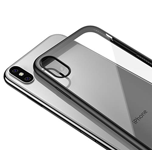 LAYJOY Funda iPhone XS, Funda iPhone X, Carcasa Ligera Silicona Negro Suave TPU Bumper y Transparente Duro PC Case Anti-Arañazos, Anti-Golpes Caso Cover 5.8'' - Clear