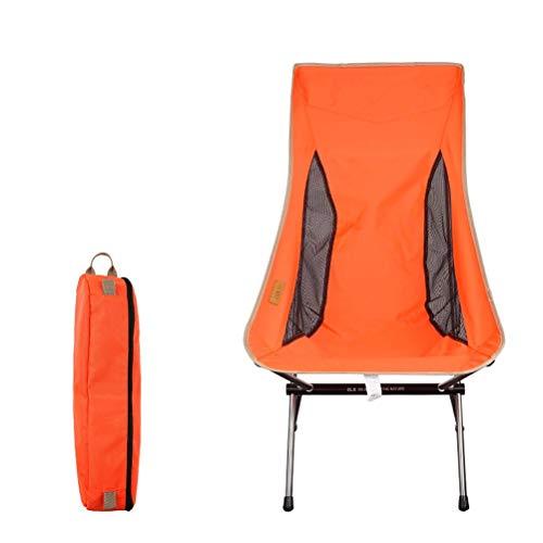Goushi Silla Plegable Portátil para Exteriores, Aleación De Aluminio Ultraligera, Silla De Luna para Acampar, Silla De Playa para Pesca Y Ocio (Color : Orange)