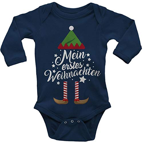 Mikalino Babybody mit Spruch für Jungen Mädchen Unisex Langarm Mein erstes Weihnachten (Weihnachts-Elf) | handbedruckt in Deutschland | Handmade with Love, Farbe:Navy, Grösse:86-92