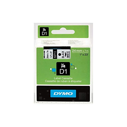 DYMO Authentic Standard D1 53713 Labeling Tape (Black Print on White Tape, 1'' W x 23' L, 1 Cartridge) (Black Labeling Tape)