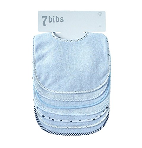 Bebé Niños Niñas Doble Capa Algodón Bandana Drool Suave Absorbente baberos (7 piezas) (blue) 🔥