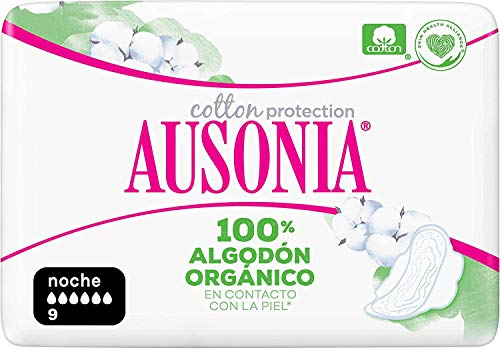 Ausonia Cotton Protection Noche (tamaño 3) Compresas Con Alas, 9