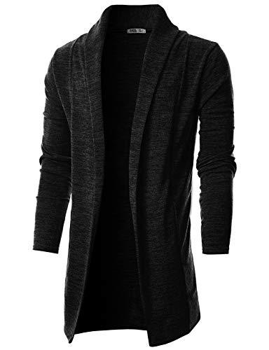 OHOO Mens Long Sleeve Draped Lightweight Open Front Shawl Collar Longline Cardigan/DCC026-BLACK-XL
