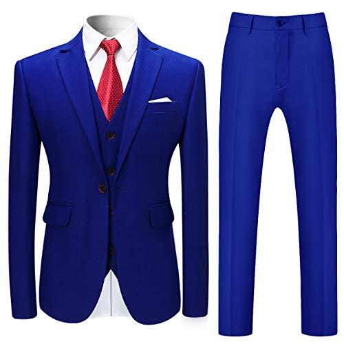 Allthemen Herren Slim Fit 3 Teilig Anzug Modern Sakko für Business Hochzeit Party Blau XXX-Large