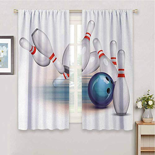 DIMICA Backdrop Curtain for Bedroom Decor Sketchy Figure of Bowling Party Thrown Ball and Scattered Pins Speed Hit The Target Shot Score Sliding Soundproof Curtains W52 x L63 Inch White Pale Blue Red