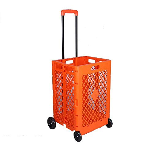 Carrito de la compra plegable con ruedas Carrito de supermercado con caja rodante de mano plegable para viajes de oficina de archivos
