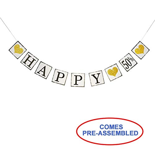 Vintage Happy 50th Birthday Banner - Happy 50th Anniversary Banner - Adult 50th Birthday Party Wedding Anniversary Party Decorations