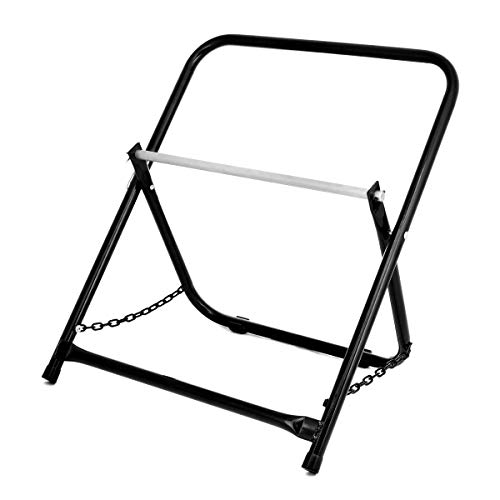 """AdirPro Durable Single Axle Cable Caddy - Commercial Industrial Grade Steel Wire Dispenser - Compact Design Holds Cable Reels Up to 20"""" Diameter and 100 lb Capacity (Black)"""